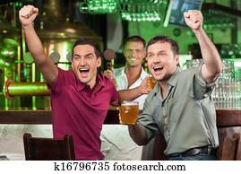 Royalty Free Friends Drinking Beer Panoramic Horizontal