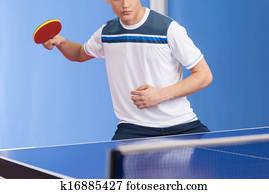 Spielender, tisch, tennis., sicher, junge männer, halten, a