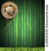 Straw Hat hanging on Green Wood Wall
