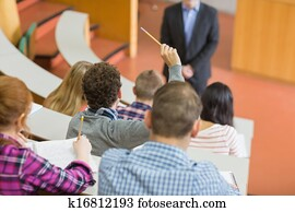 Students sitting at the college lecture hall