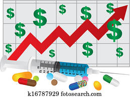 Syringe with Medication Drugs Pills and Chart Illustration
