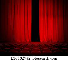 theatre red curtain slightly open with seats