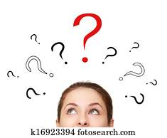 Thinking woman looking up on many question signs above head isolated
