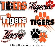 tigers with paw print designs