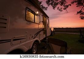 Travel Trailer in Sunset