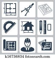 Vector building design icons set: layout, pair of compasses, protractor, pencil, ruler, eraser, blueprint, designer, drawing board