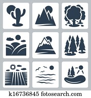 Vector nature icons set: desert, mountains, forest, meadow, snow-covered mountains, conifer forest, field, sea, lake