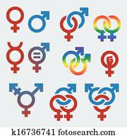 vektor, symbole, von, sexuell, orientierung, und, geschlecht