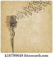 Vintage background with microphone