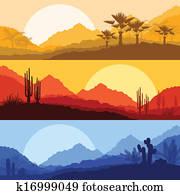 wüste, wildes, natur, landschaftsbilder, mit, kaktus, und, palme, betriebe