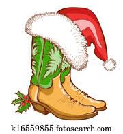 weihnachten, cowboystiefel, und, nikolausmuetze