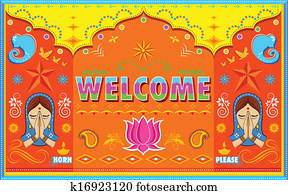 Welcome Background in Indian Truck paint style