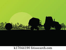 Agriculture tractor making hay bales in cultivated countryside fields landscape background illustration vector