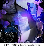 Artist abstract with doorway