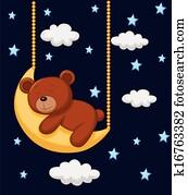 Baby bear cartoon sleeping on the m