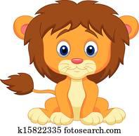Baby lion cartoon sitting