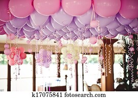 Balloons under the ceiling on wedding party