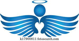 Blue angel praying logo
