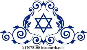 blumen-, symbol, mit, davidstern