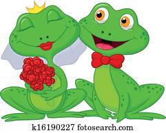 Bride and Groom Frogs Cartoon Chara