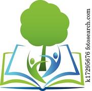 buch, baum, studenten, logo