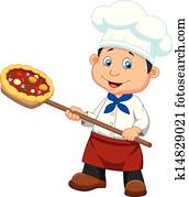 Cartoon a baker with Pizza
