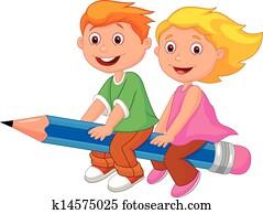 Cartoon boy and girl flying on a pe