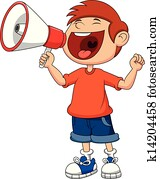 Cartoon boy yelling and shouting in