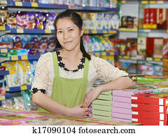 chinese woman seller in shop