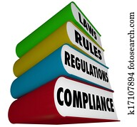 Compliance Rules Laws Regulations Stack of Books Manuals
