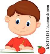 Cute cartoon boy writing on a book