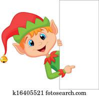 Cute christmas elf cartoon pointing