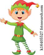 Cute christmas elf cartoon presenti