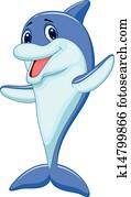 Cute dolphin cartoon waving