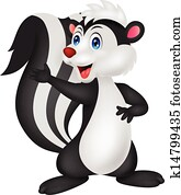 Cute skunk cartoon waving hand