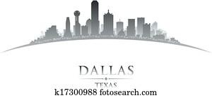 Dallas Texas city skyline silhouette white background