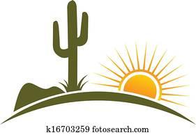Desert design elements sun logo