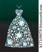 diamant, heiraten kleid