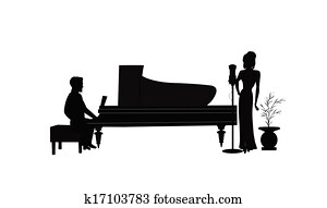female singer with piano player