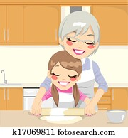 Grandmother Teaching Granddaughter Make Pizza