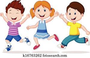 Happy children cartoon running