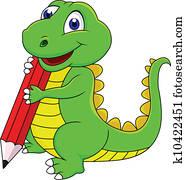 Happy dinosaur cartoon writing with
