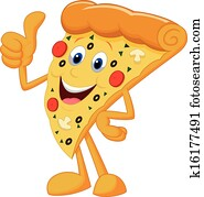 Happy pizza cartoon with thumb up