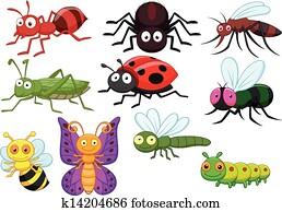 insekt, karikatur, sammlung, satz