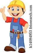 karikatur, heimwerker, mit, werkzeuge, gürtel, th