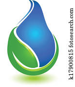Leaf and drop water logo