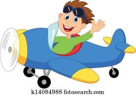 Little Boy Operating a Plane