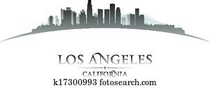 Los Angeles California city skyline silhouette. Vector illustration