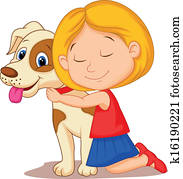 Lovely cartoon little girl hugging