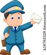 Mail carrier cartoon with bag and l